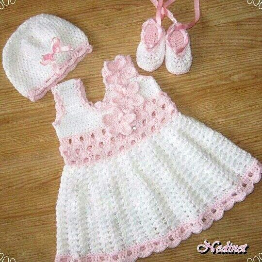 crochet baby dress pattern, crochet dress set pattern, crochet hat shoes  pattern, 0-12 months NJNUZWV