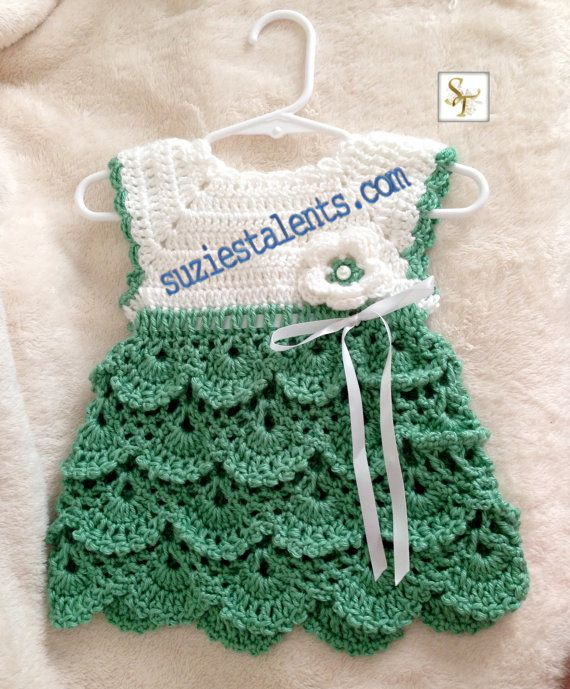 crochet baby dress pattern pt071 - 0-12 months, crochet baby dress, baby dress pattern, baby green  dress, handmade CDLZQAH
