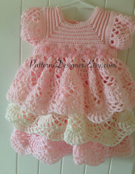 crochet baby dress pt014 - 3-12 months - crochet baby layers dress, baby dress, layers dress, crochet TALDYMT