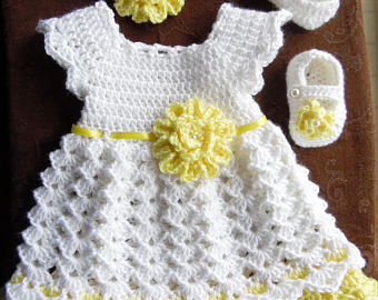 crochet baby dress set, white and yellow baby dress headband and shoe set,  baby XKYODFF