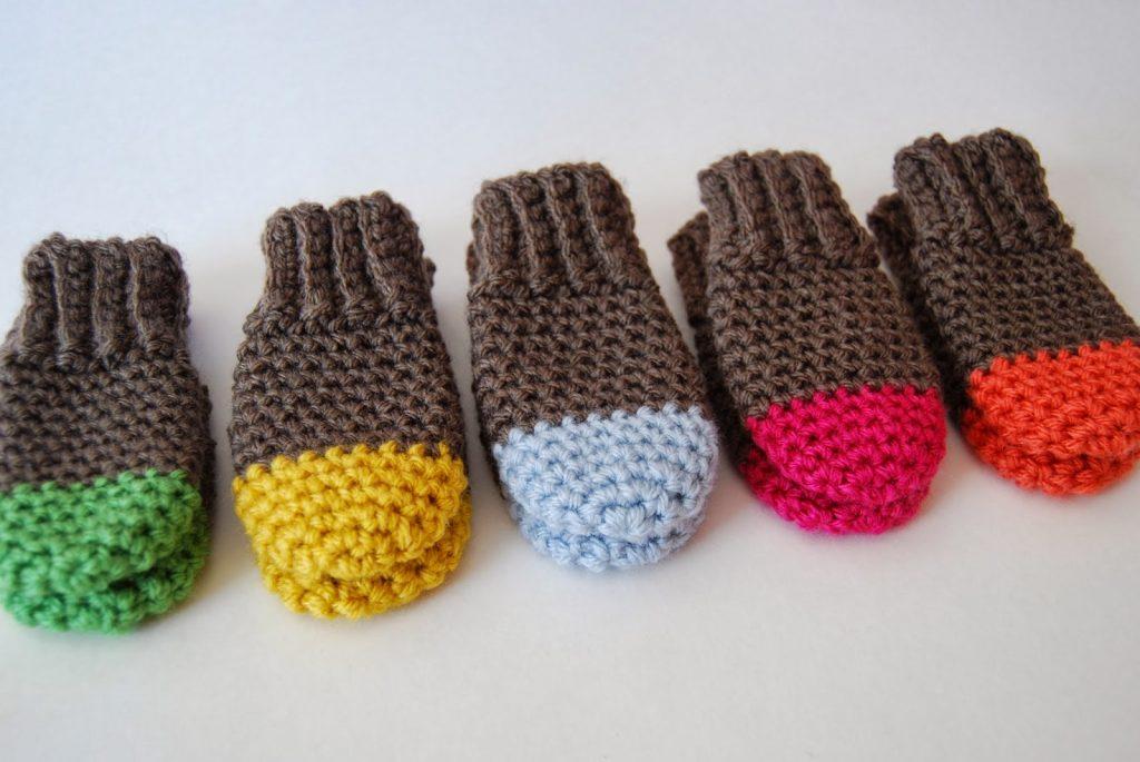 Crochet Baby Mittens Free Crochet Pattern Two Tone Baby Mittens