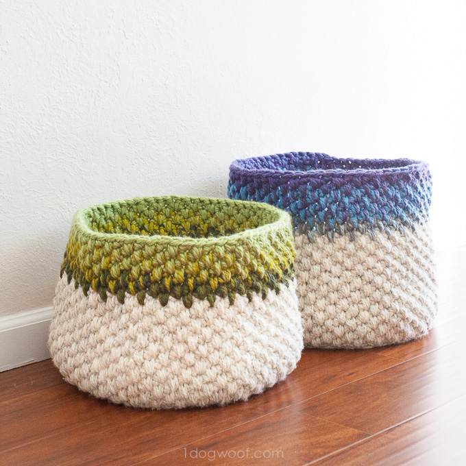 crochet basket pattern scrap buster crochet baskets. free pattern! | www.1dogwoof.com NDRMFKR