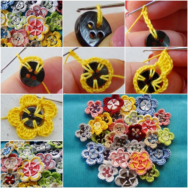 crochet buttons simple yet stunning crochet button flowers OSYCQFH