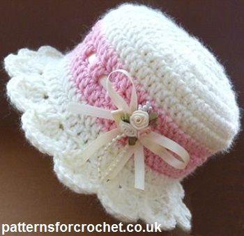 Crochet cap for babies free baby crochet pattern for brimmed hat from http://patternsforcrochet.co. TPWOKYK