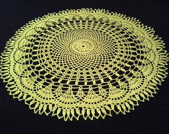 crochet doilies crochet doily - round doilies - large doily - yellow doily - home decor - LBGTAPU