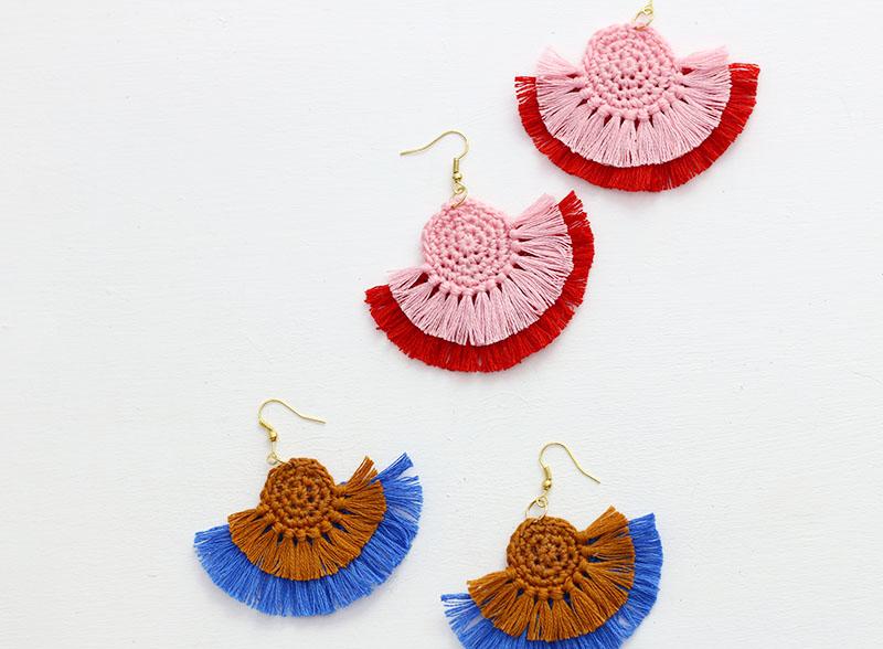 crochet earrings crochet fringe earrings GXOVLUR