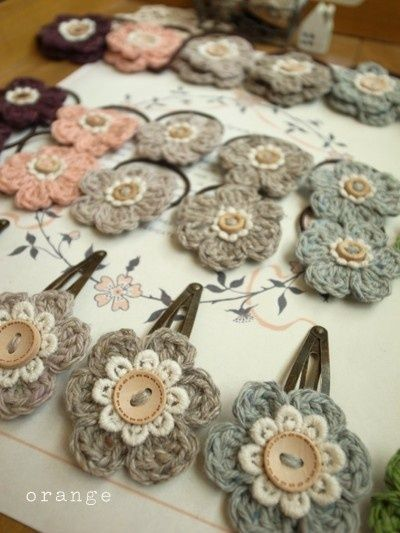 crochet hair accessories crocheted flower hair clips and ties! CYRZUFX
