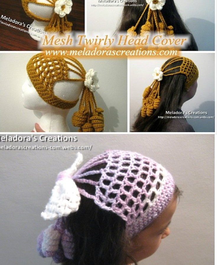 crochet hair accessories crocheted mesh twirly head cover - free crochet pattern EOJBPLQ