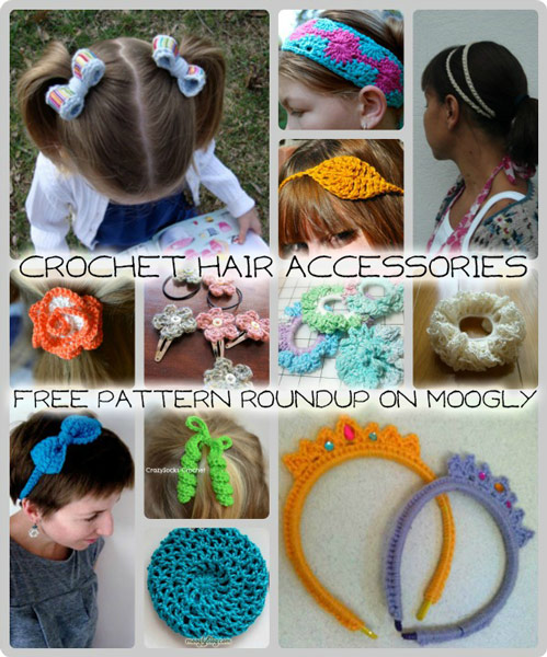 crochet hair accessories - perfect for summer! 12 free patterns ONVIBNK