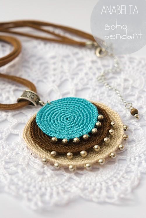crochet jewelry boho turquoise crochet pendant by anabelia BFDHDHK