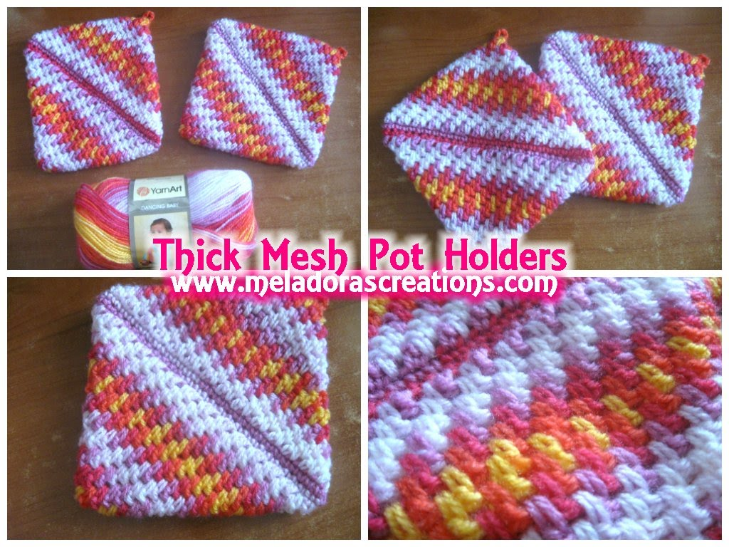 crochet potholders crocheted pot holders thick crochet mesh / brick stitch stitch - crochet  tutorial NSEEACR