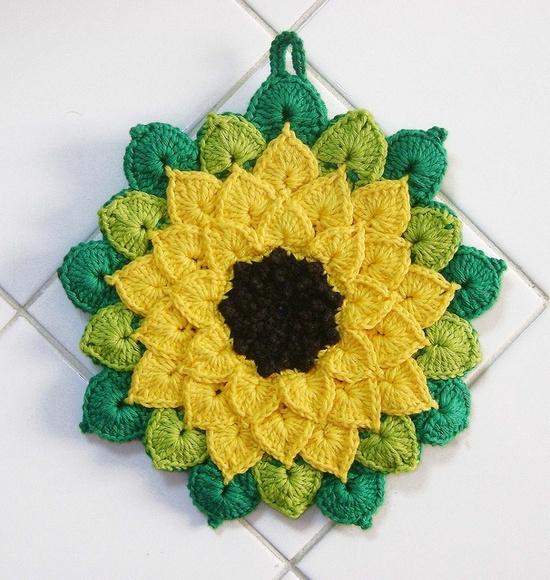 crochet potholders girassol - pega-panela - potholder by coloridoecletico - por cristinau2026 QSENTZD