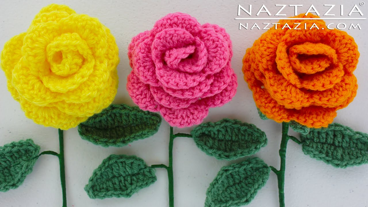 crochet rose diy learn how to crochet a beginner easy flower - rose rosas bouquet  flowers GEGBZWB