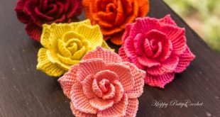 crochet rose flower applique pattern by happy patty crochet BLUKOFC