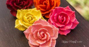 crochet rose flower applique pattern by happy patty crochet BLUKOFC