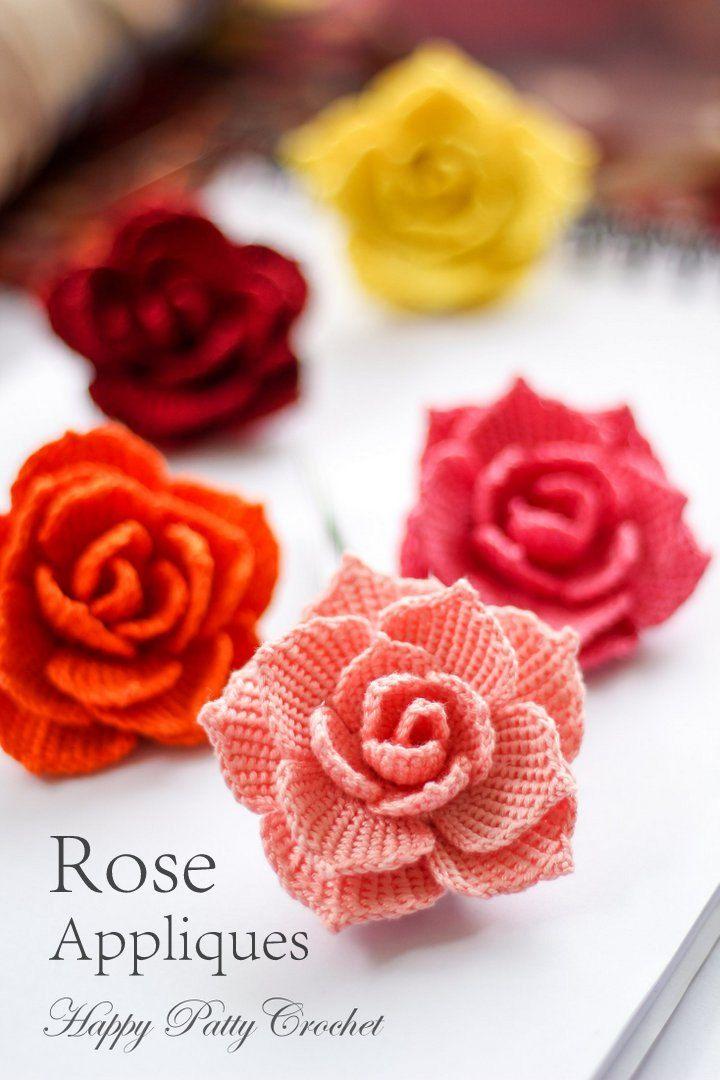 crochet rose pattern - crochet flower pattern for a rose applique - crochet  pattern SYCHHVP