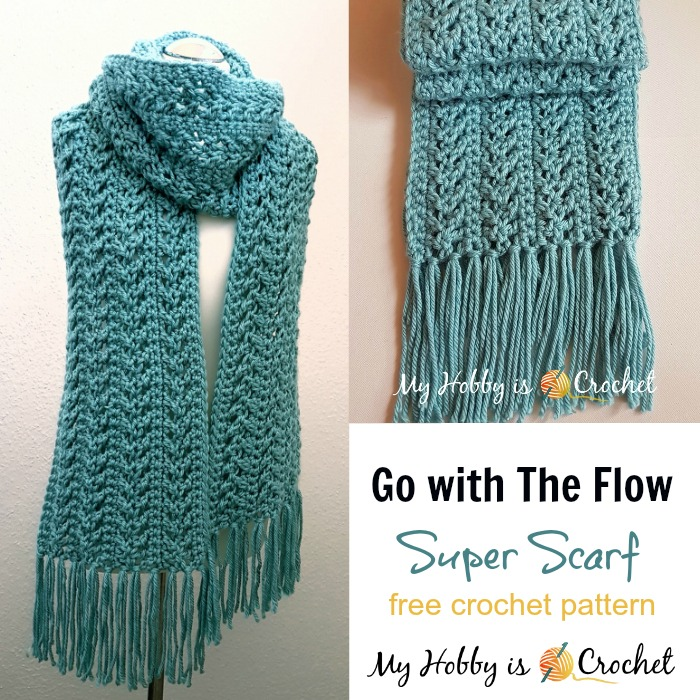 crochet scarf go with the flow super scarf - free crochet pattern | red heart joy EVOKWUK