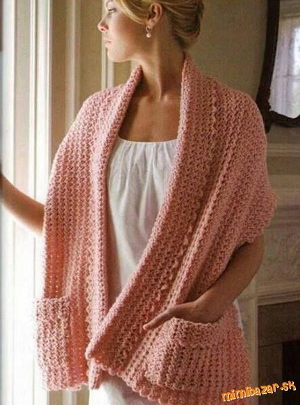 crochet shawl with pockets FEEGNOY