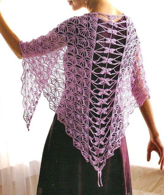 crochet shawls: crochet shawl - elegant silver silk shawl - free crochet  pattern PBEGIGS