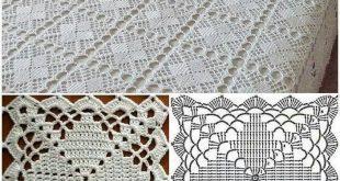 crochet tablecloth copriletto a mattonelle ARPKATY