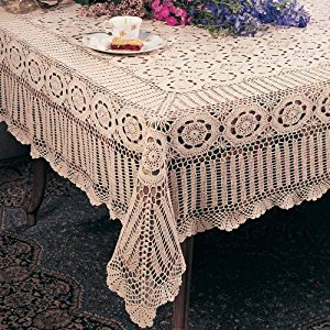 crochet tablecloth handmade crochet lace tablecloth. 100% cotton crochet. ecru, 30 inch  square. one piece . MKCNRMY
