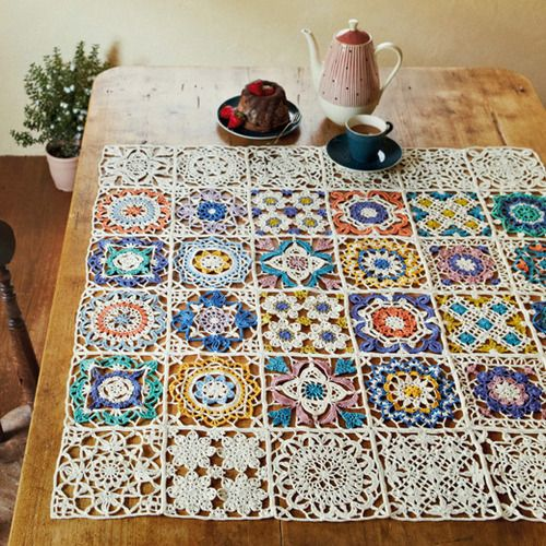 crochet tablecloth - inspired by turkish tiles @ felissimo more ADJUBZY