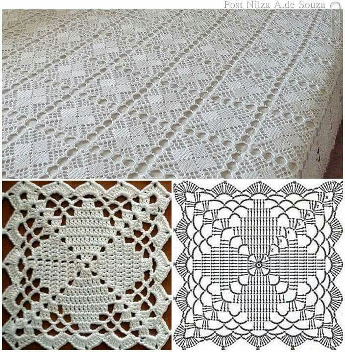 crochet tablecloth pattern copriletto a mattonelle YKSNBID