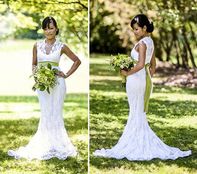 crochet wedding dress 15 wedding dresses you wonu0027t believe are crocheted | brit + co TUDQIAJ