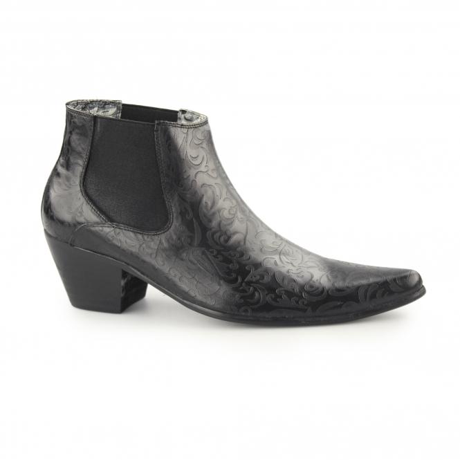 cuban heels club cubano veer 3 mens winklepicker cuban heel boots black VLXEKGM