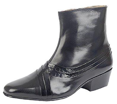 cuban heels mens cuban heel side zip boots black reptile leather size 6 AZQSMGV