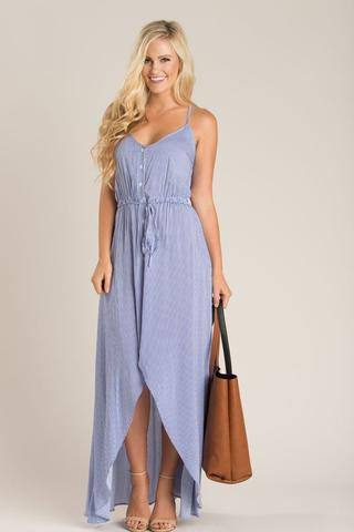 cute dresses carissa blue striped high low maxi dress FXZYLOV