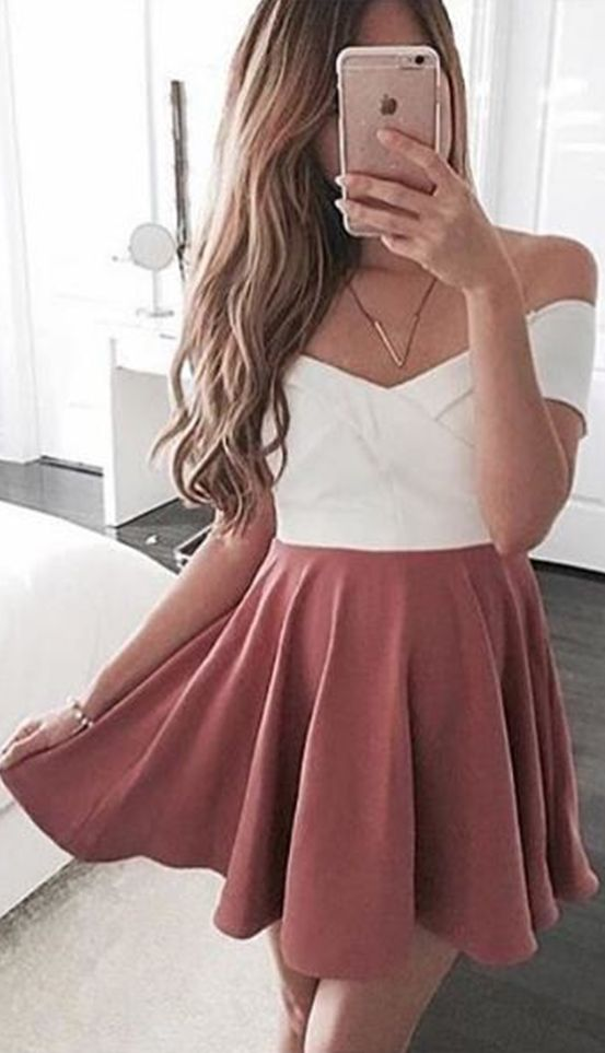 cute dresses cute party dress,sundress for women ,pink homecoming dress,off the shoulder  short UJYIHBH