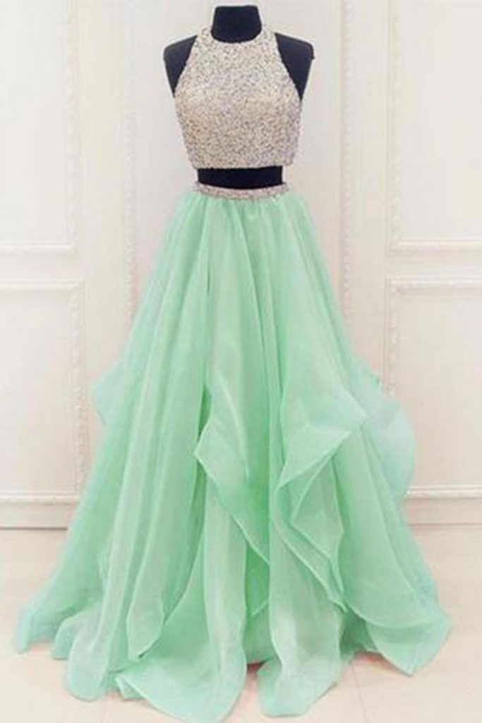 cute dresses green two pieces tulle round neck l EQXTZZS