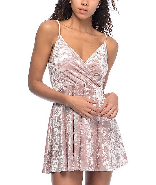 cute dresses love, fire mauve crushed velvet wrap dress WMAGWWS