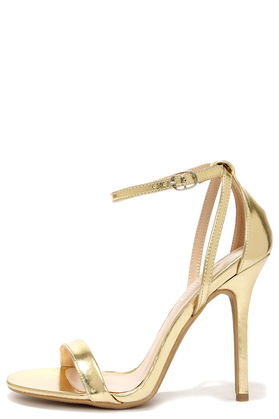 cute gold heels - ankle strap heels - $22.00 SBMQEVY