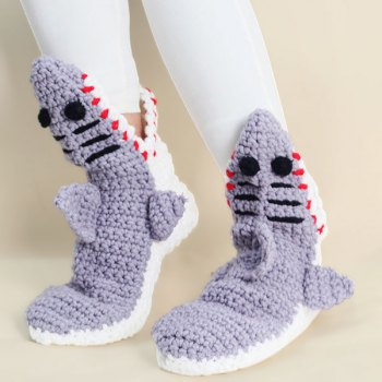 cute shoes knitted shark slipper socks YBNGOBT