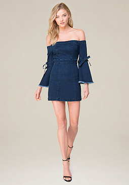 day dresses bebe off shoulder denim dress WLVPLUZ