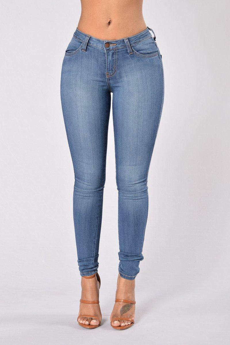 denim jeans classic mid rise skinny jeans - medium blue OQWIDFP