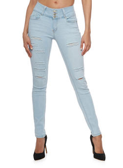 denim jeans wax slashed whisker wash skinny jeans - 3074071610067 WJGZSGM