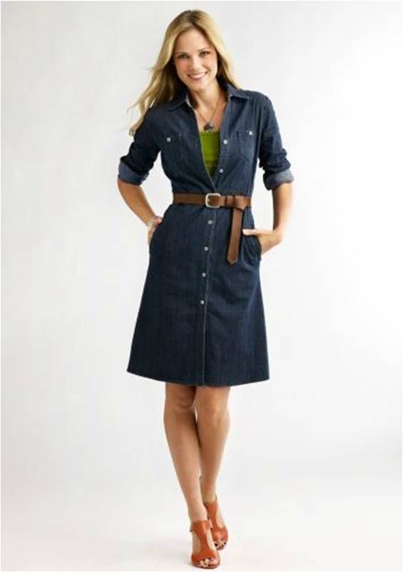 denim shirt dress; great for casual friday ZSQFQAY