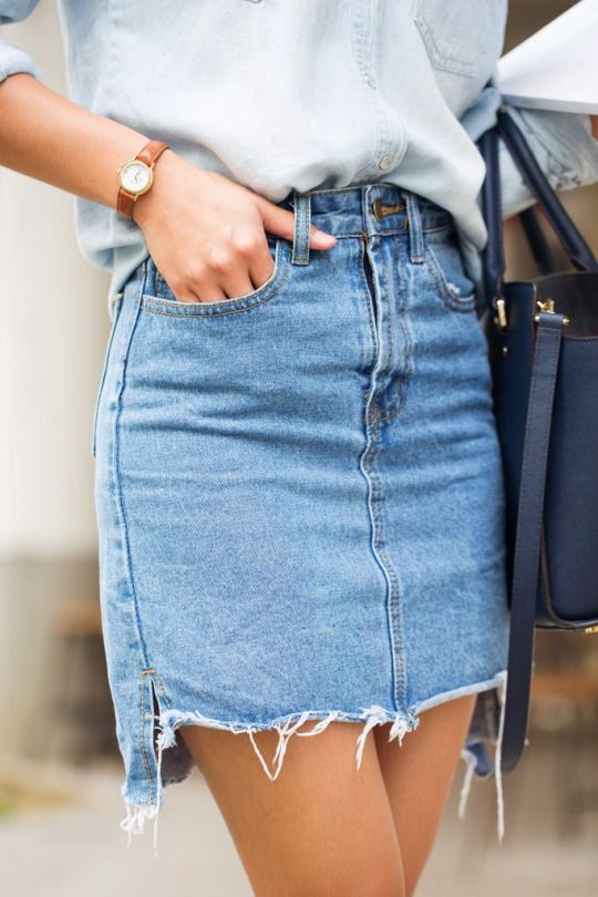 denim skirts 180+ top spring summer fashion style ideas 2017. denim pencil skirthigh ... EDKMBAD