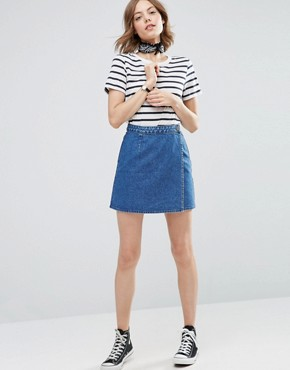 denim skirts asos denim wrap skirt in midwash blue ZDJKIOF