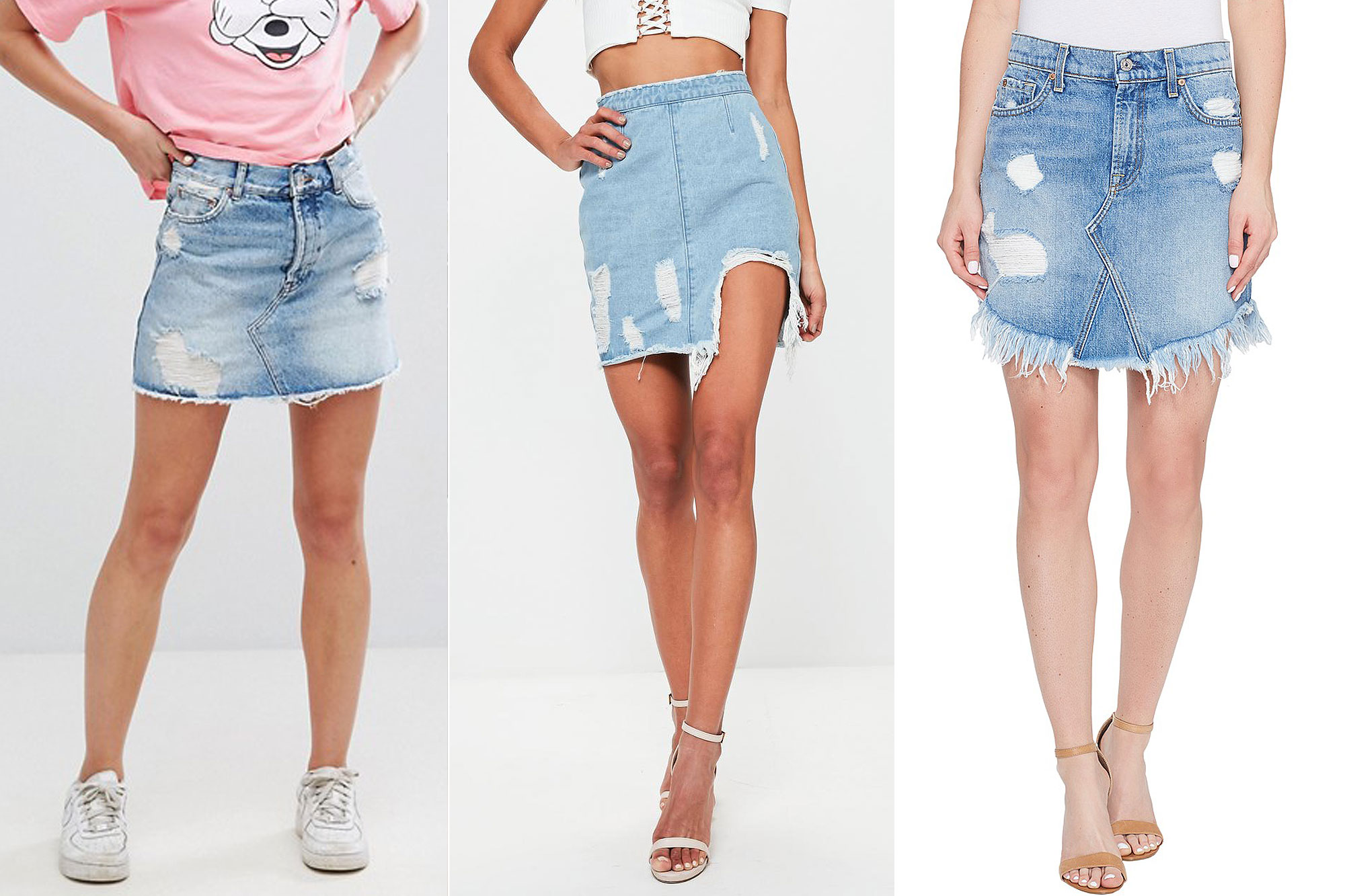 denim skirts buy it! pullu0026bear frayed distressed denim skirt, $42; asos.com, missguided  blue busted hem ripped NXWRJWG
