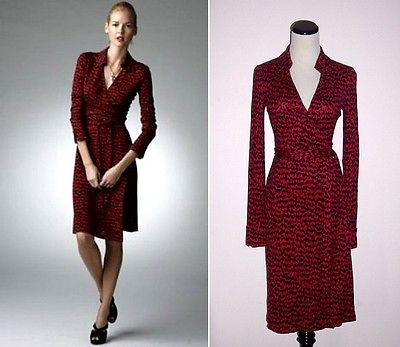 diane von furstenberg wrap dress diane von furstenberg jeanne vintage scribble tweed red silk wrap dress 2  euc TXKEJAE