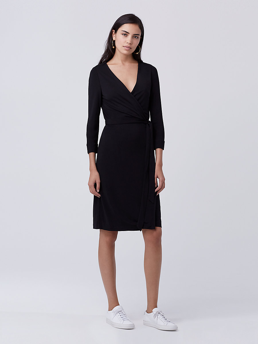 diane von furstenberg wrap dress new julian two matte jersey wrap dress in black by dvf XBHWNFN
