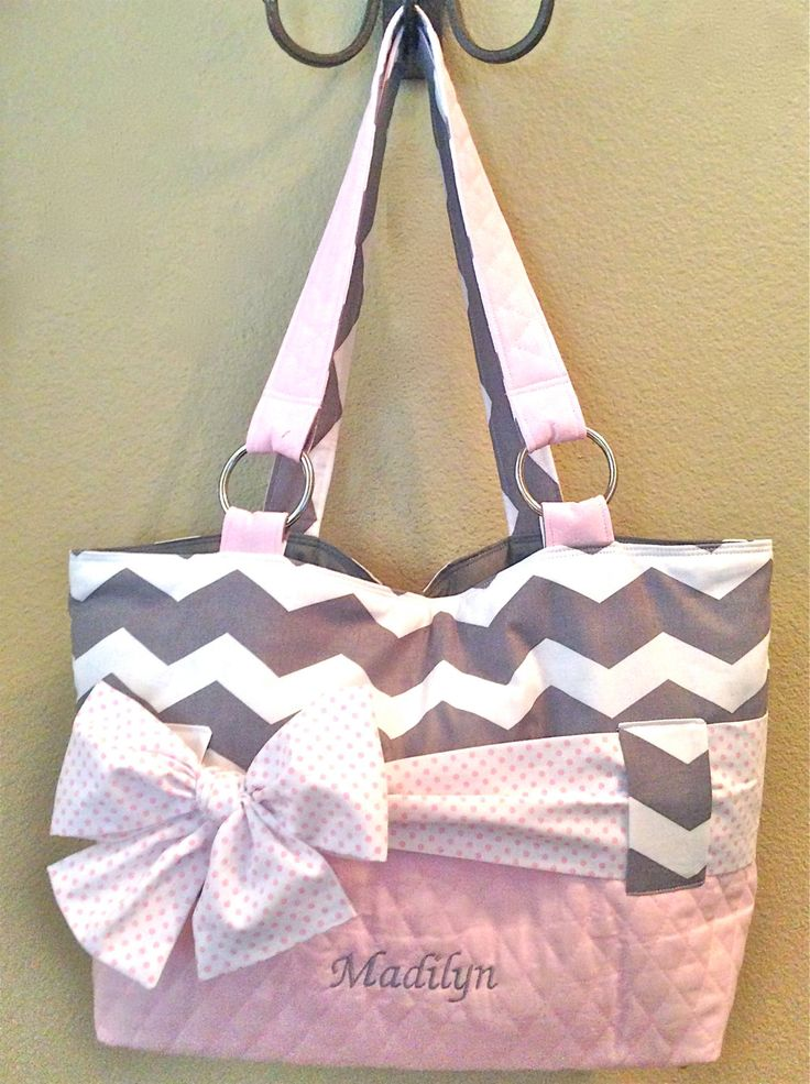 diaper bags for girls grey u0026 white chevron with light pink diaper bag. interchangeable sash/bow.  chevron print can RGCZREX