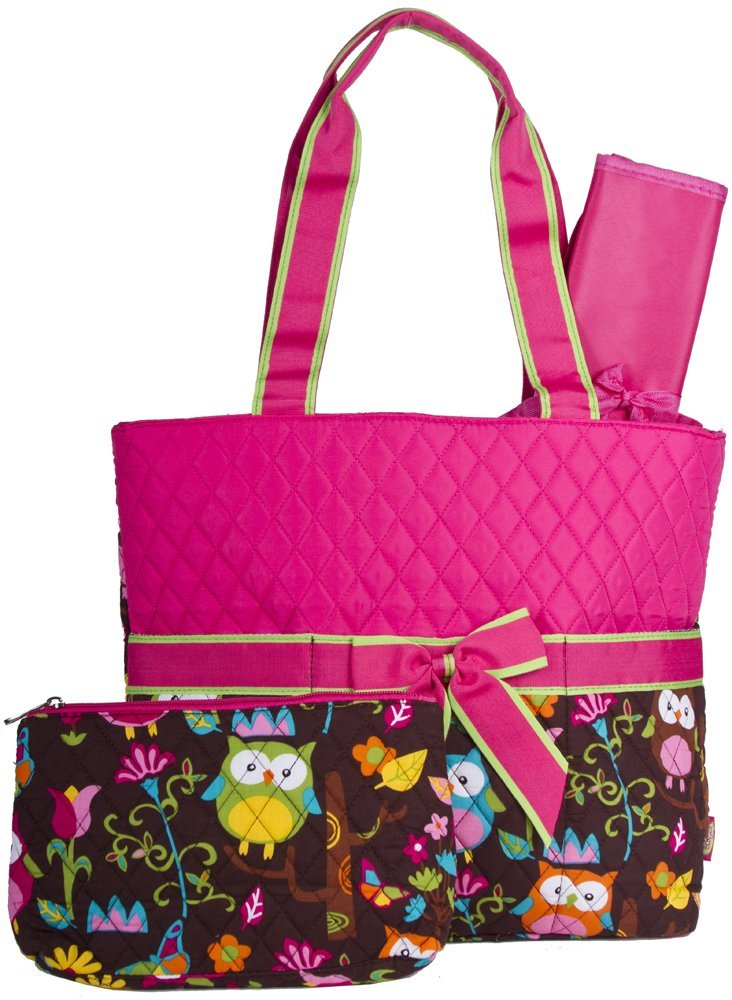 diaper bags for girls monogrammable quilted diaper bag owl pink DVGWWFB