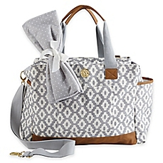 diaper bags image of mud pie bigger bundle geo dot diaper bag in grey VWFNAPH
