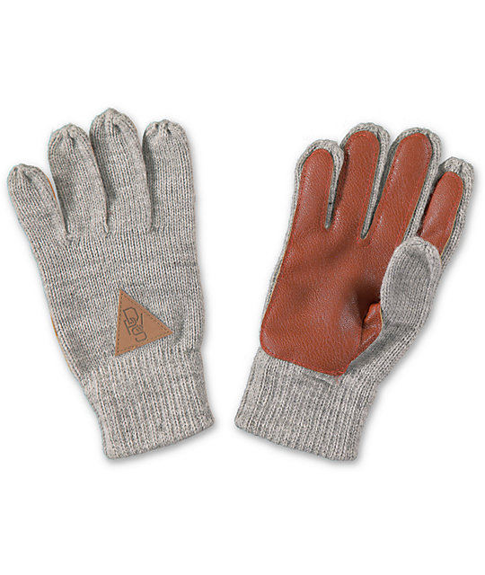 dravus worked heather gray knit gloves PLXRGVU