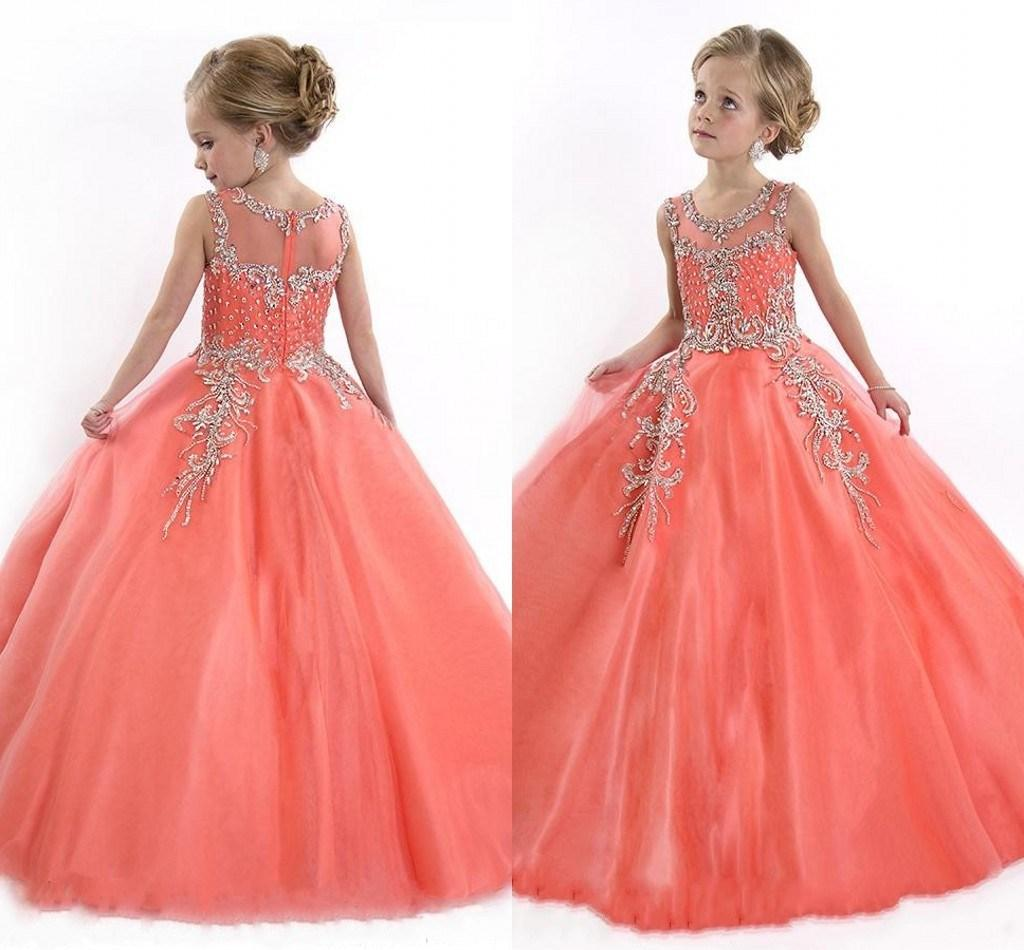 dresses for kids 2017 peach girls pageant dresses for teens cute cupcake tulle floor length dresses  for CSIHQHG